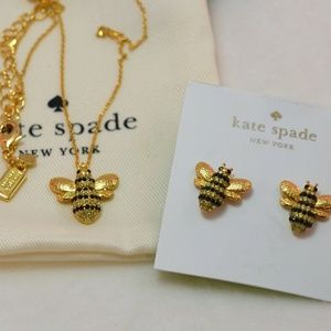 Kate Spade Necklace & Earrings Set Gold New